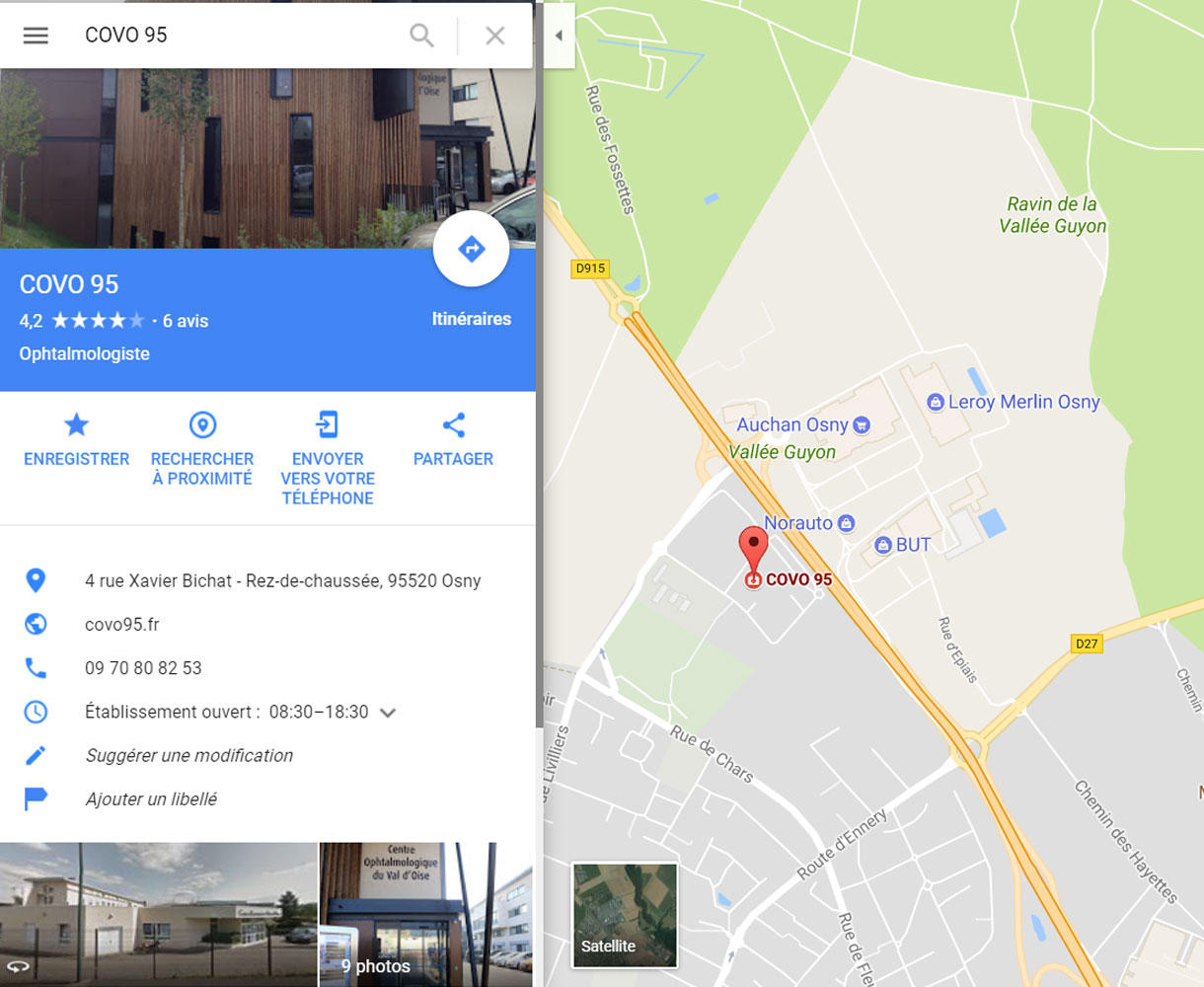 Optimisation Fiche Google My Business - Centre d'ophtalmologie